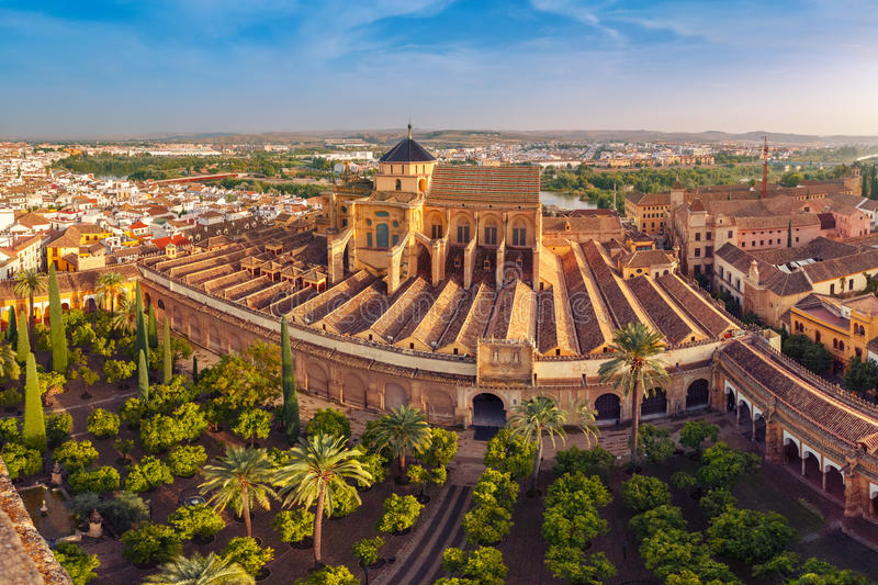 Panorama of Mezquita in Cordoba, Spain royalty free stock images