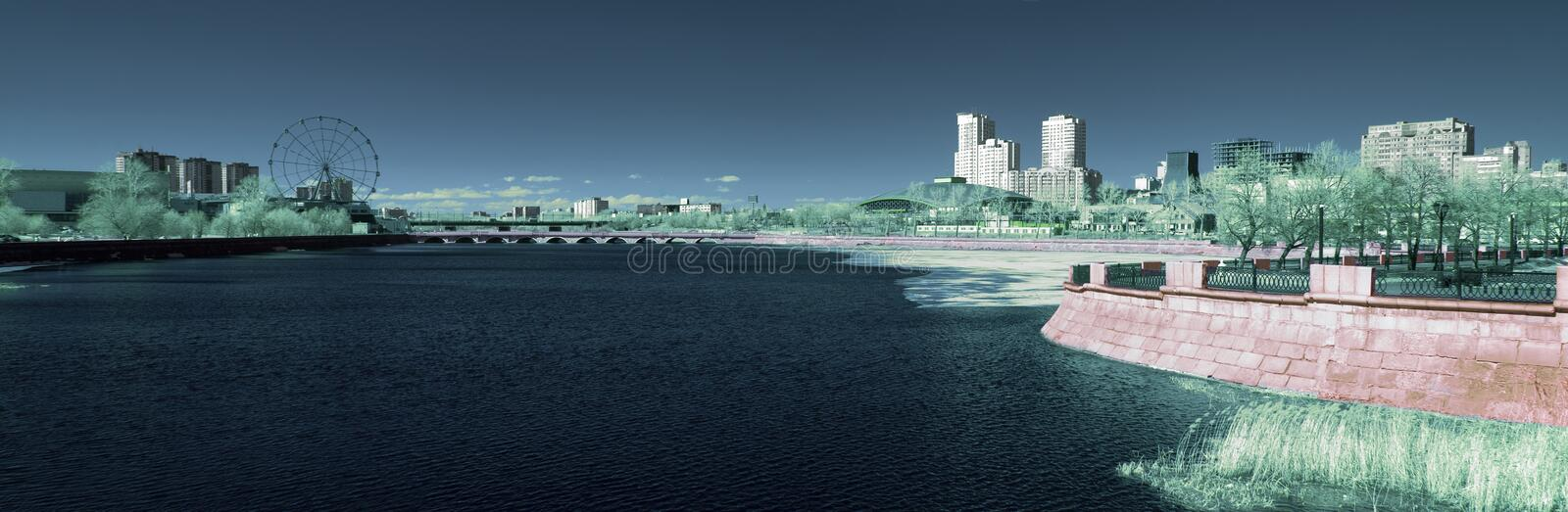Panorama of the Miass River embankment. Infrared photo royalty free stock photos