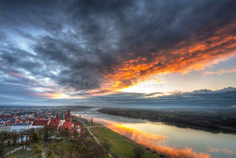 Panorama miasta Grudziadz z Wieży Klimek o zachodzie słońca, Polska obrazy royalty free
