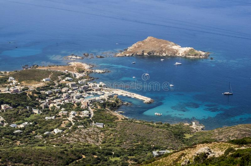 Panorama miasto Centuri w nakrętce Corse obraz royalty free