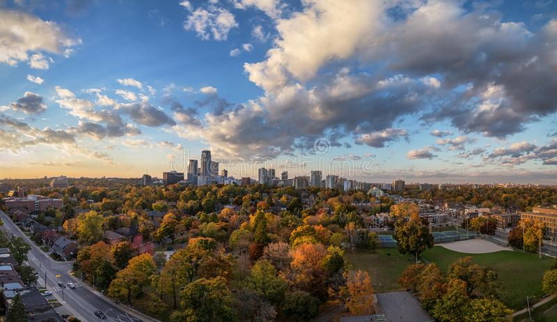 Midtown Toronto Panorama in Autumn. Panorama of midtown Toronto in the Fall season taken from the balcony of an apartment stock photography