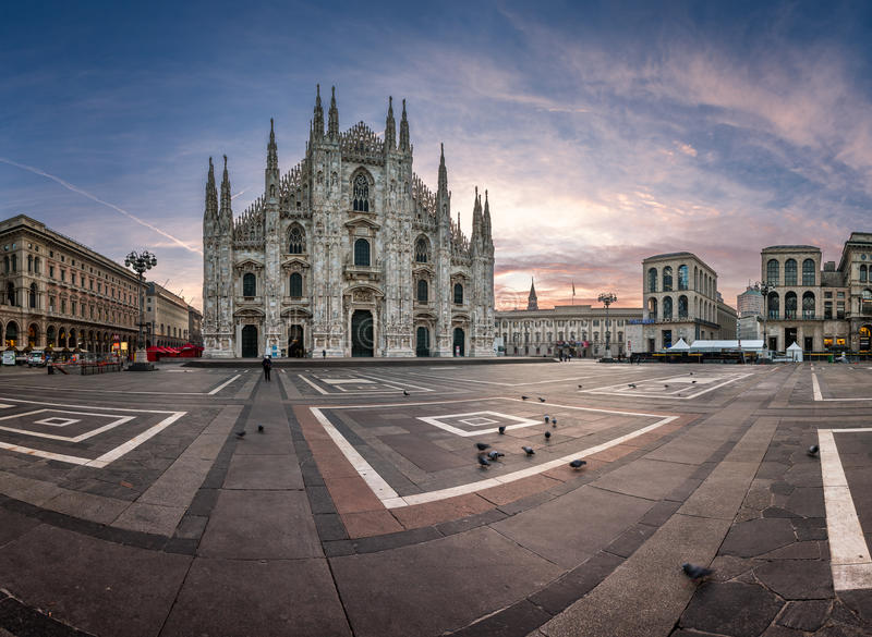 Panorama of Milan Cathedral (Duomo di Milano), Vittorio Emanuele II Gallery and Piazza del Duomo in Milan, Italy. MILAN, ITALY - JANUARY 2, 2015: Milan Cathedral royalty free stock images