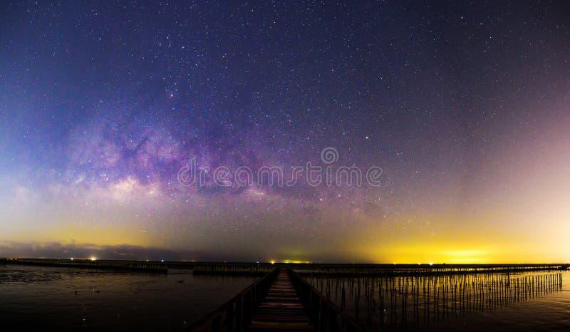Panorama Milky way at the bridge royalty free stock images