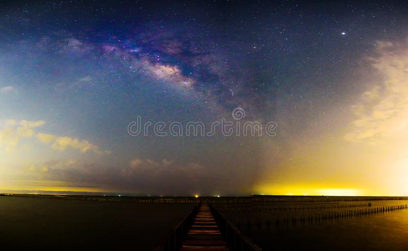 Panorama Milky way at the bridge royalty free stock photography