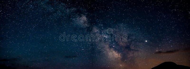 Panorama of Milky Way in Durmitor in Montenegro, Europe stock photos