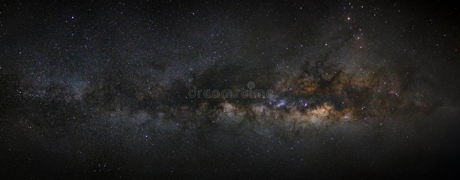 Panorama milky way galaxy, Long exposure photograph,with grain,high resolution. royalty free stock images