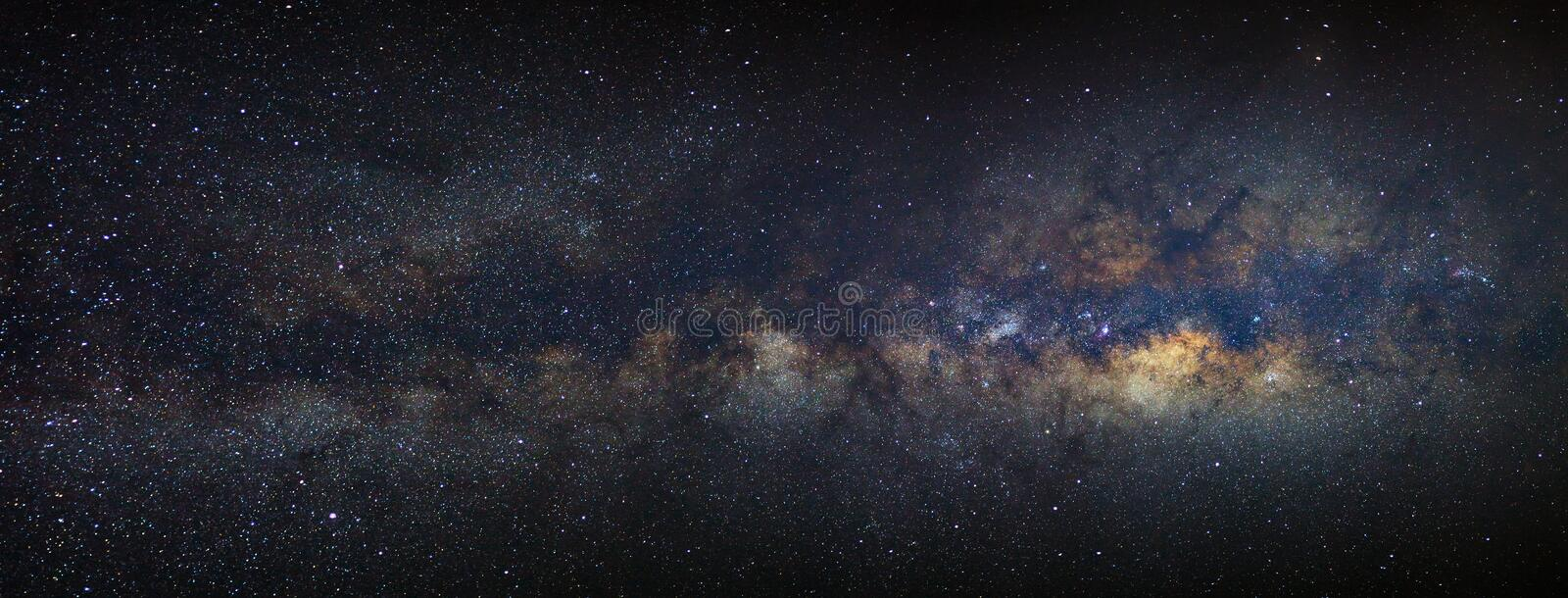 Panorama Milky way galaxy with stars and space dust in the universe royalty free stock photo