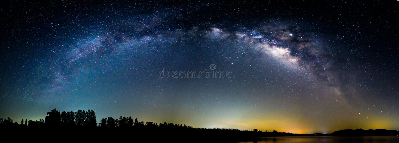 Panorama Milky way at the lake royalty free stock photos