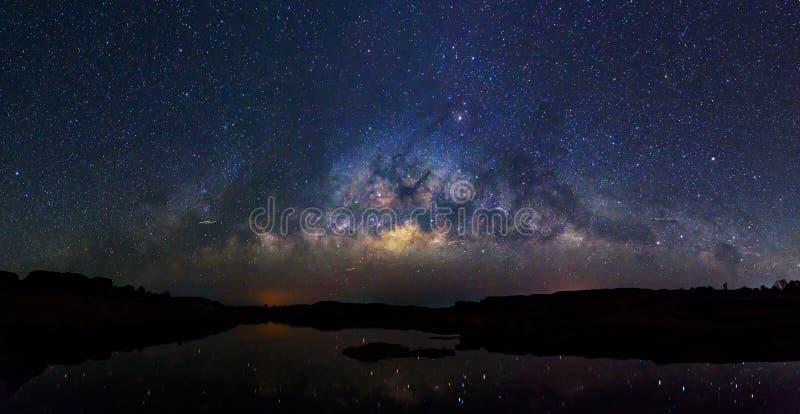 Panorama Milky way at the lake royalty free stock photo