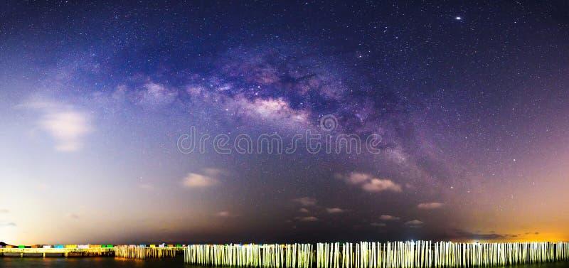 Panorama Milky way at the sea in dark night royalty free stock photo