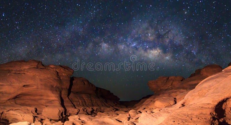 Panorama Milky way at stone mountain royalty free stock photo