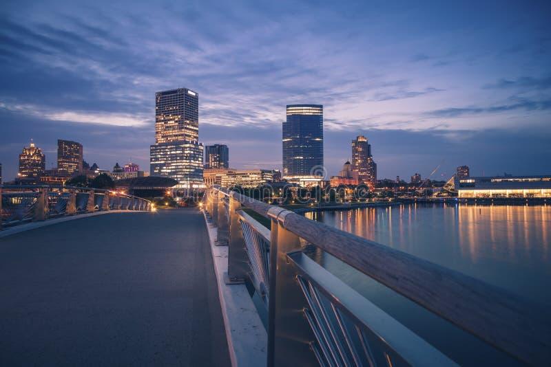 Panorama of Milwaukee at night stock images