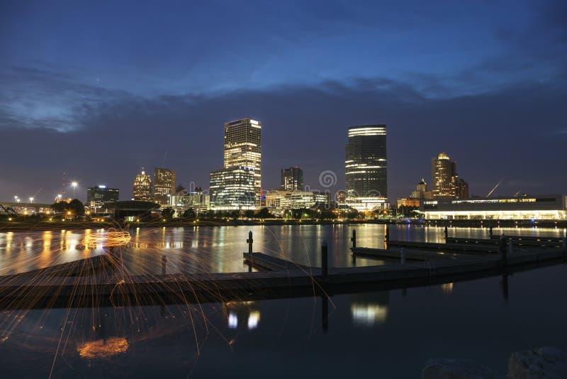 Panorama of Milwaukee at night stock photography