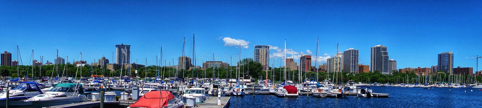 A panorama of the Milwaukee,WI skyline royalty free stock photography