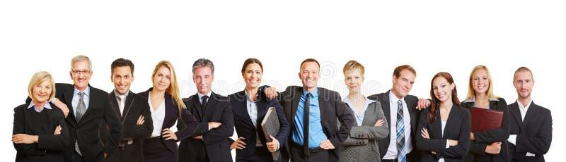 Panorama mit Geschäftsteam und -Geschäftsleuten lizenzfreie stockfotos