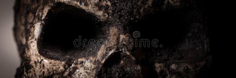 Panorama mit Nahaufnahme eines menschlichen Schädels stockfoto