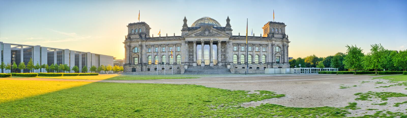 Panorama mit Reichstag, Berlin, Deutschland stockfoto