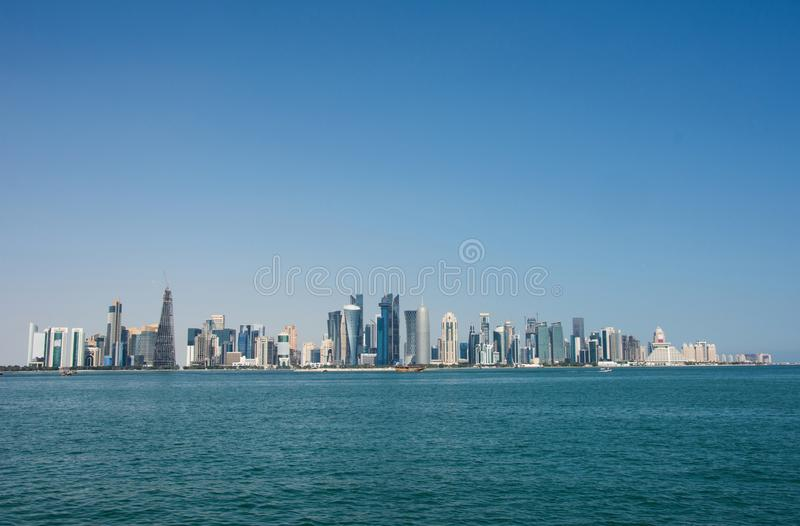 Panorama of modern skyscrapers in Doha, Qatar. Concept of finance luxury world royalty free stock photo
