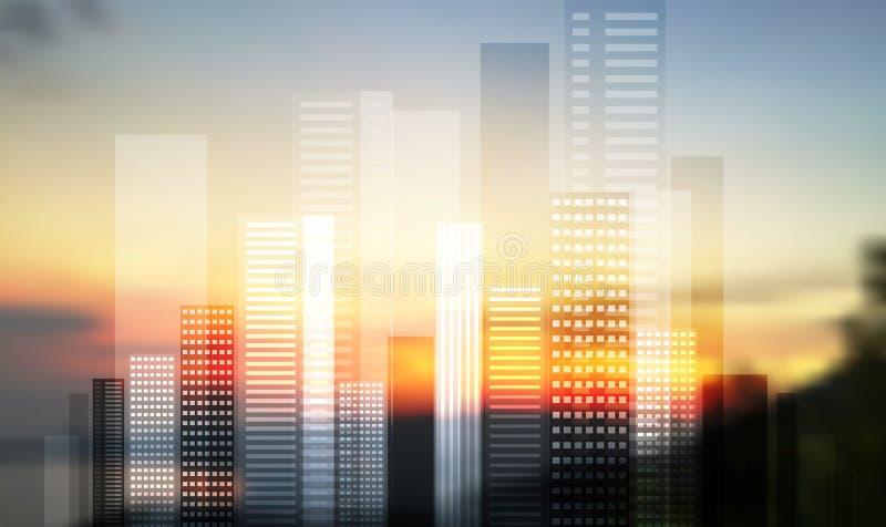 Panorama moderne urbain de ville sur le paysage brouillé illustration libre de droits