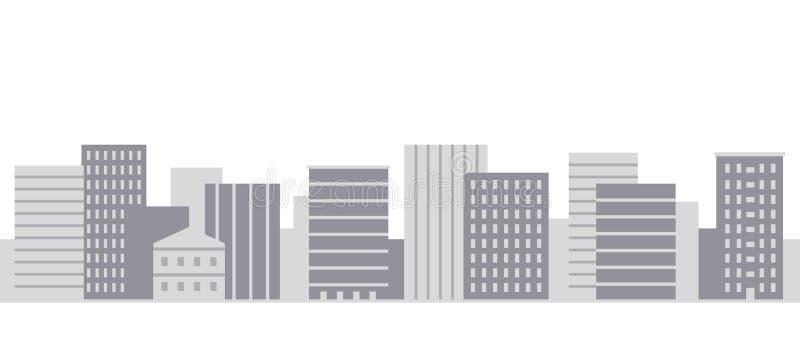 Panorama moderno de la ciudad en el ejemplo plano simple del vector del estilo ilustración del vector