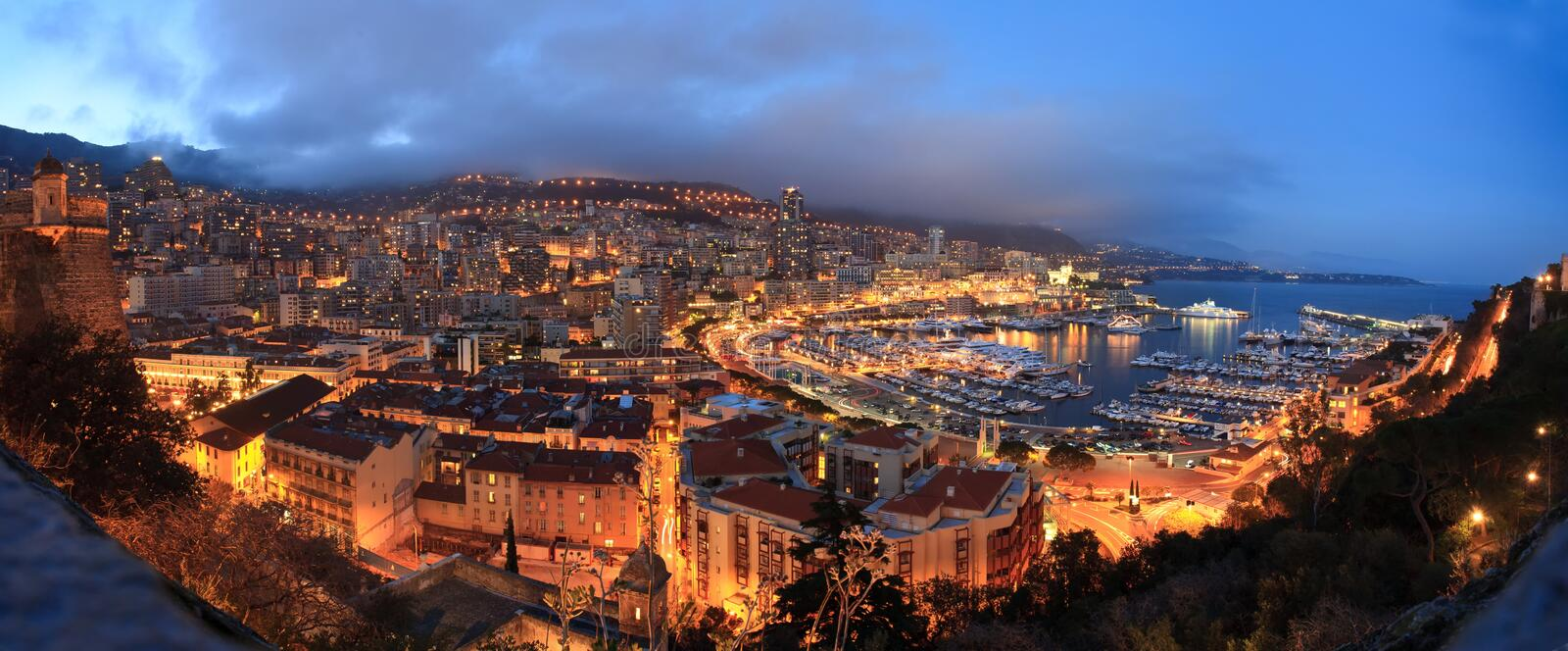 Panorama Monaco-.night lizenzfreies stockfoto