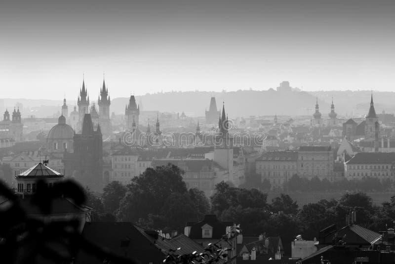 Panorama monocromático de Praga desde la colina de Petrin al amanecer imagen de archivo