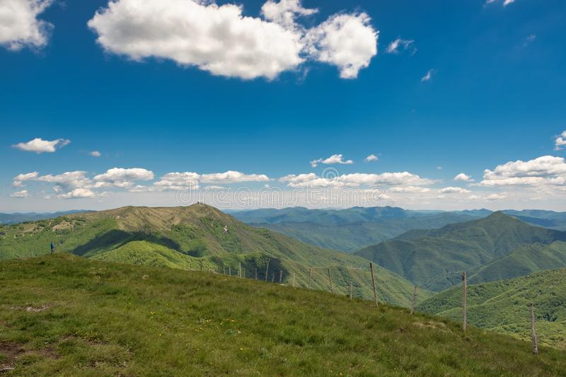 Panorama from Monte Chiappo peak. Color image. Panoramic view from the peak of Monte Chiappo, a little mountain at the borders of Liguria, Piedmont and Emilia royalty free stock image