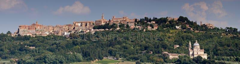 Panorama of Montepulciano. Panorama of Renaissance village Montepulciano, Tuscany, Italy stock images