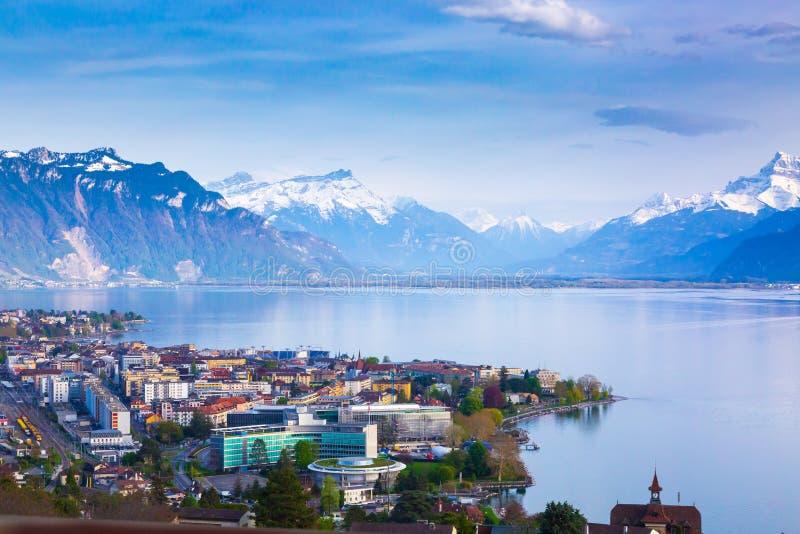 Panorama of Montreux city, Lake Geneva and amazing mountains in Switzerland. Panorama of Montreux city, Lake Geneva and amazing mountains, Switzerland royalty free stock photo