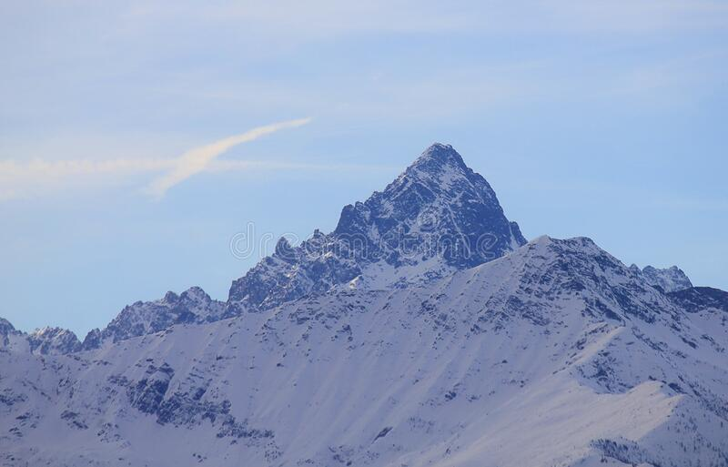 Monviso mountain in winter with snow royalty free stock photo