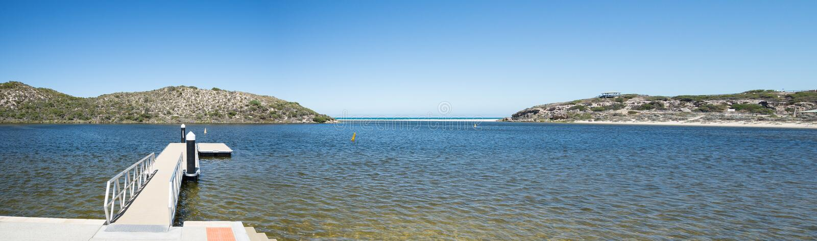 Panorama of Moore river lagoon and jetty. Panoramic view of the Moore River lagoon, jetty and beach in Western Australia royalty free stock image