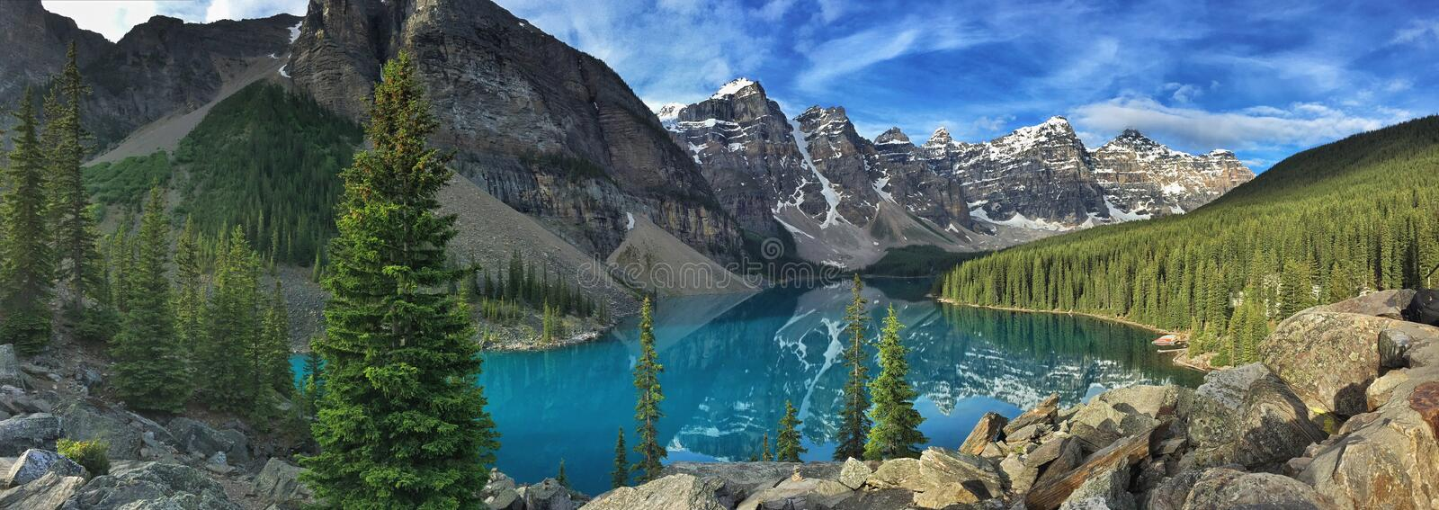 Panorama of Moraine Lake in Banff National Park. royalty free stock images