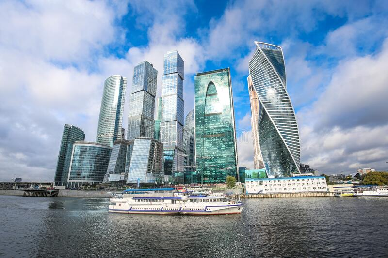 Panorama of Moscow City - International Business Center, view from the embankment stock photo