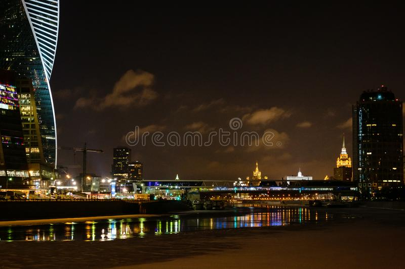 Panorama of Moscow city with Moskva River at night stock image