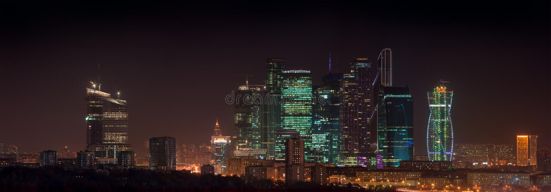 Panorama Moscow City stock photo