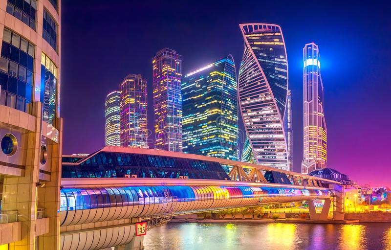 Panorama of Moscow City at night. Modern architecture of Russia royalty free stock photography