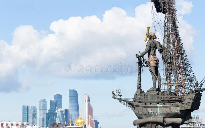 Panorama of Moscow International Business Center, Peter the Great Statue(the eighth tallest statue in the world) and Ministry. Moscow, Russia - August 6, 2018 stock image