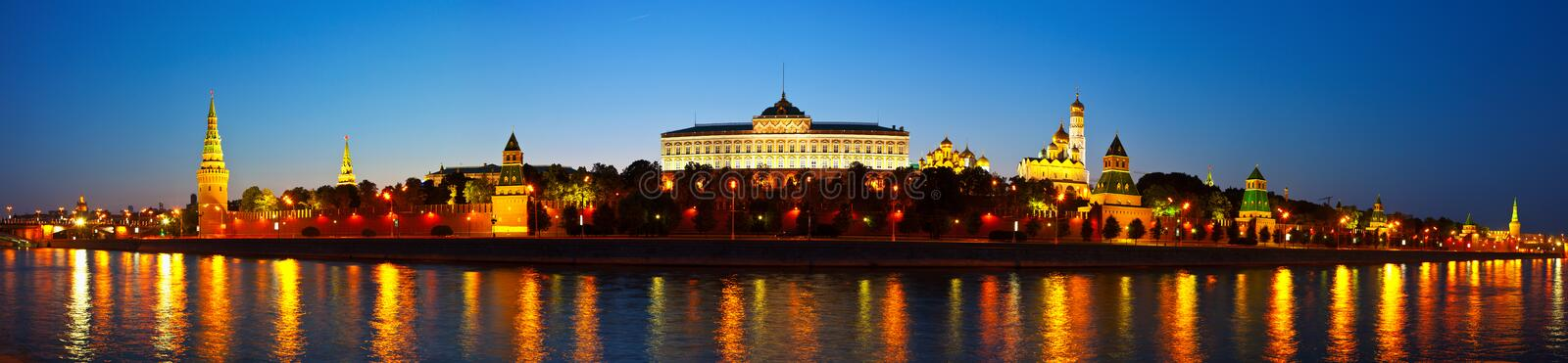 Download Panorama Of Moscow Kremlin In Night. Russia Stock Image - Image: 25857077