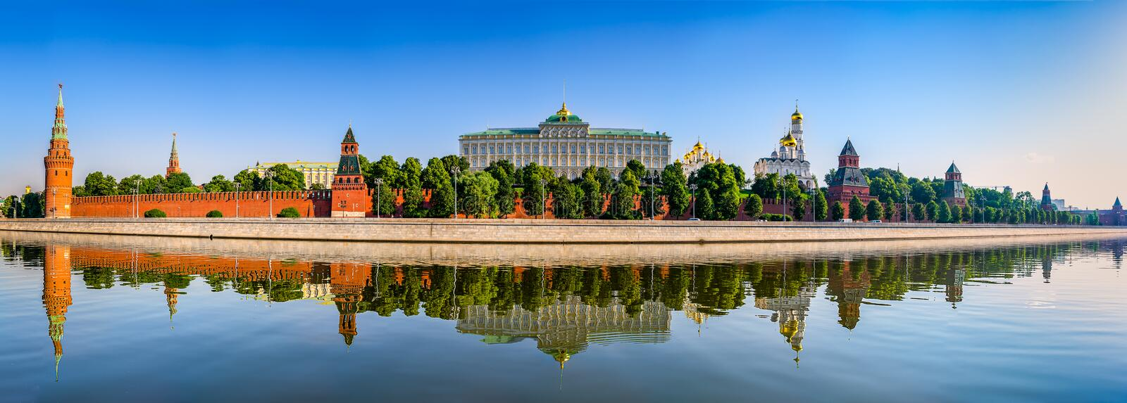 Panorama of the Moscow Kremlin. View from the Moscow river in the early morning in the summer. Russia royalty free stock photo