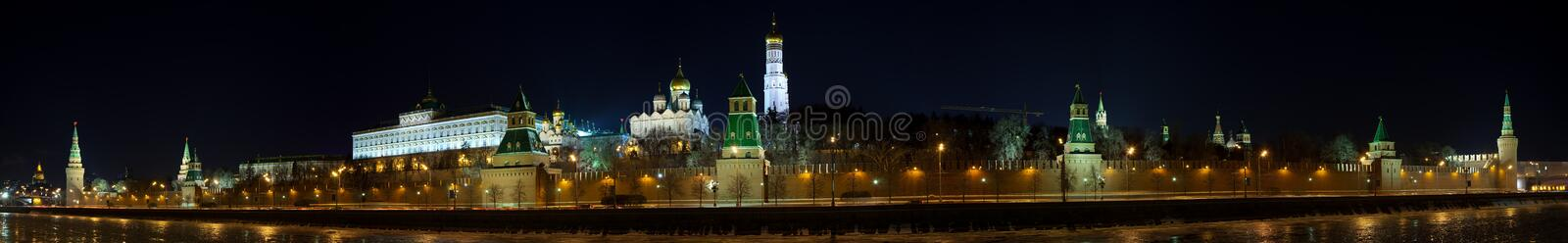 Panorama of Moscow Kremlin in winter night. Russia royalty free stock images