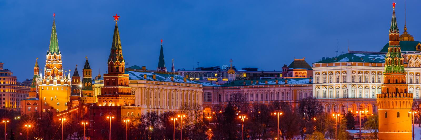 Panorama of Moscow Kremlin in winter night stock photography
