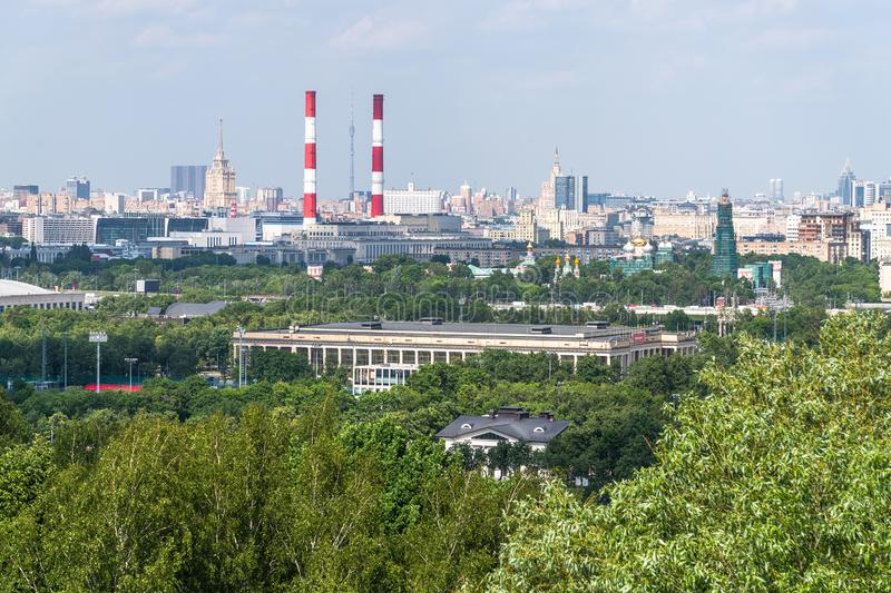 Panorama of Moscow from Sparrow Hills, Russia. Panorama of Moscow from a Sparrow Hills, Russia royalty free stock images