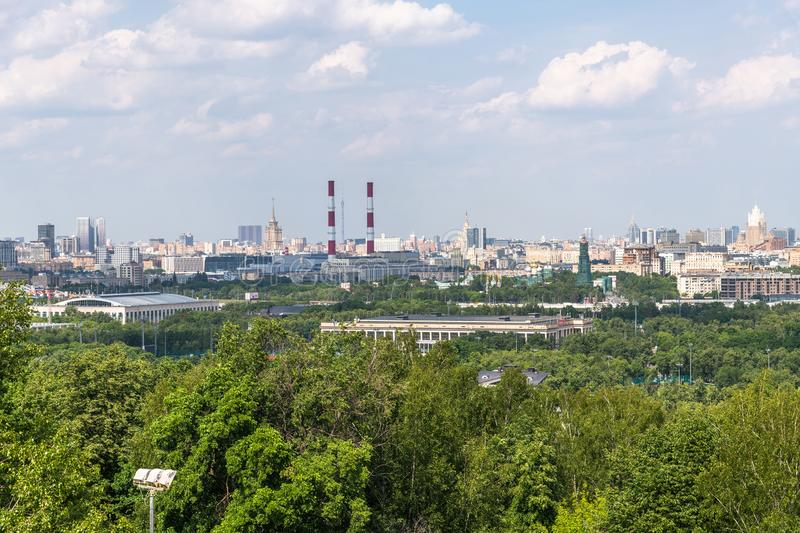 Panorama of Moscow from Sparrow Hills, Russia. Panorama of Moscow from a Sparrow Hills, Russia stock image
