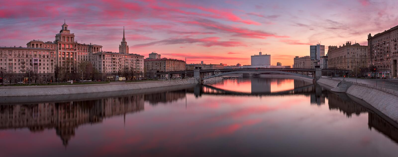 Panorama of Moskva River Embankment and White House in the Morning, Moscow, Russia stock photos