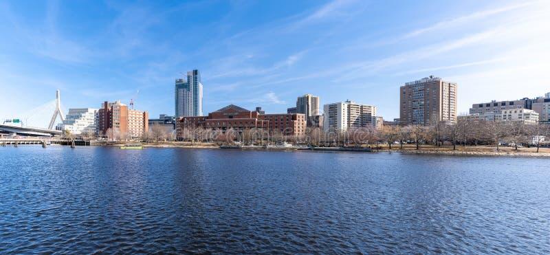 Panorama mostowa Boston Zakim zdjęcia royalty free