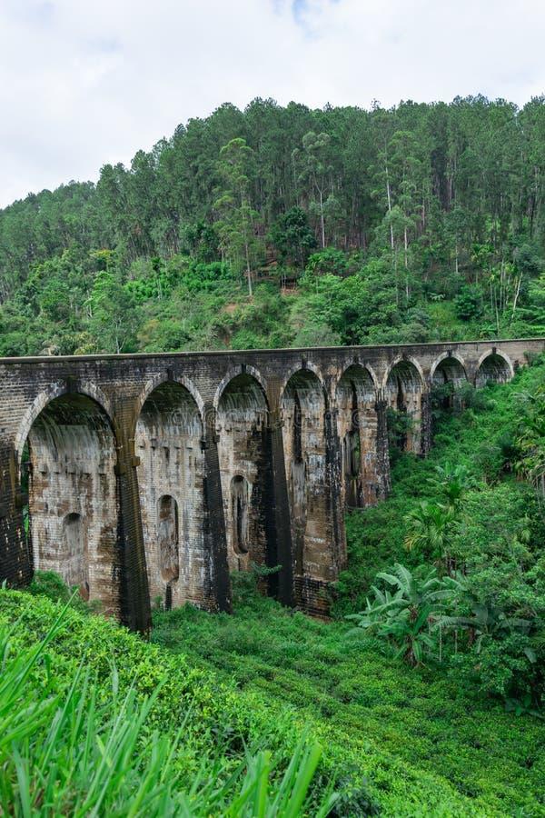 Panorama mostu Nine Arched położonego w głębi dżungli Demodara, w mglistej pogodzie, Ella, Sri Lanka zdjęcia stock