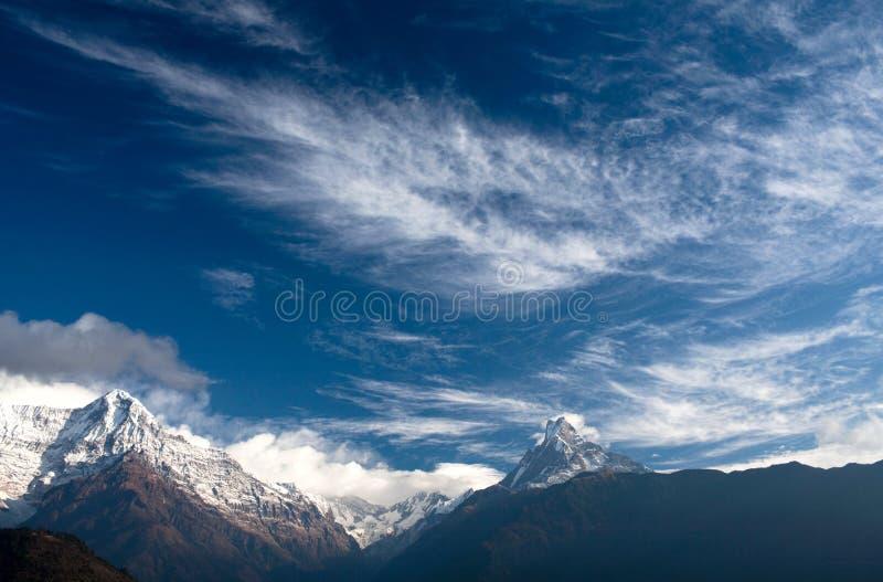 Panorama of mount Annapurna and mount Machapuchare, Nepal stock image