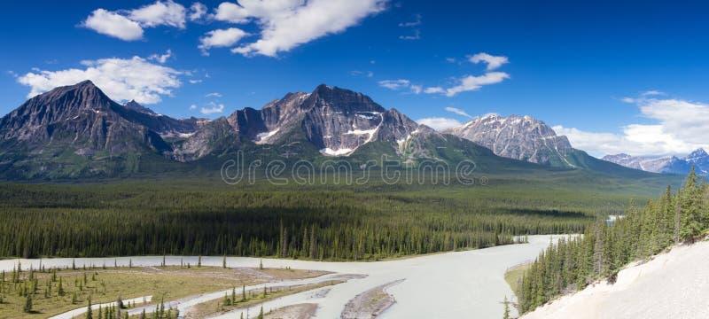 Panorama of Mount Christie and Mount Fryatt stock photo