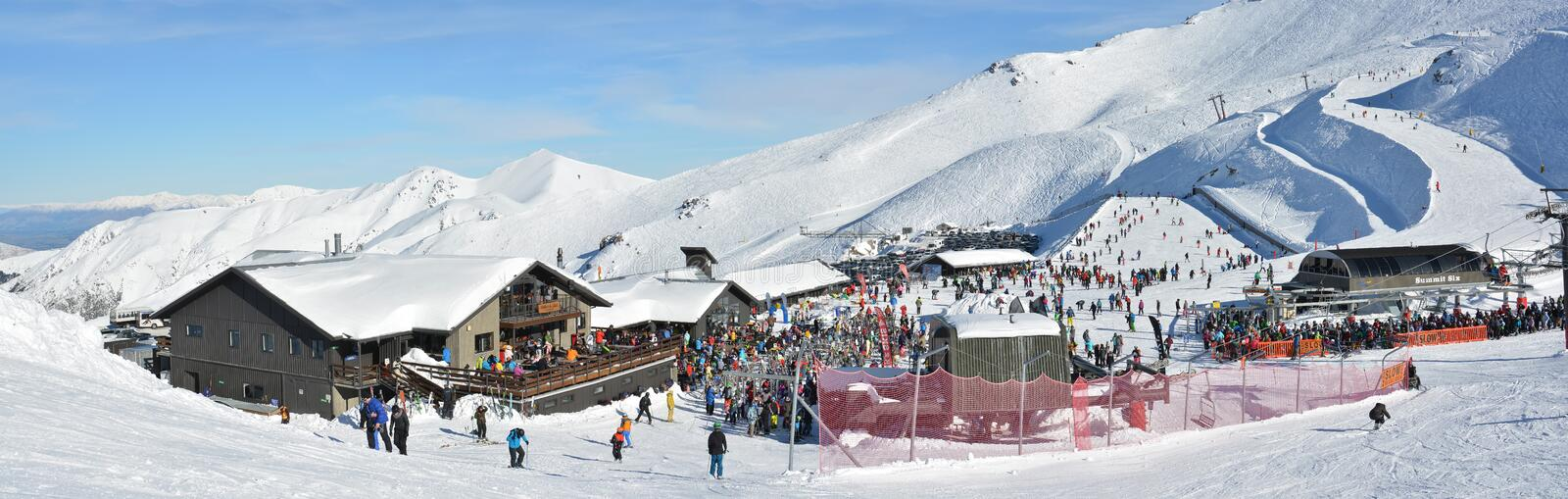 Panorama of Mount Hutt Ski Field at Lunchtime, New Zealand stock image