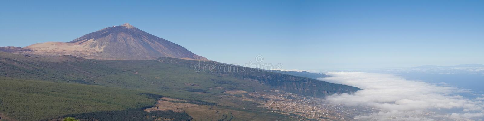 Panorama of the Mount Teide and the Orotava Valley royalty free stock image